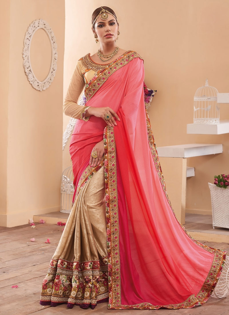 Wondrous Beads And Sequins Work Half N Half Wedding Saree