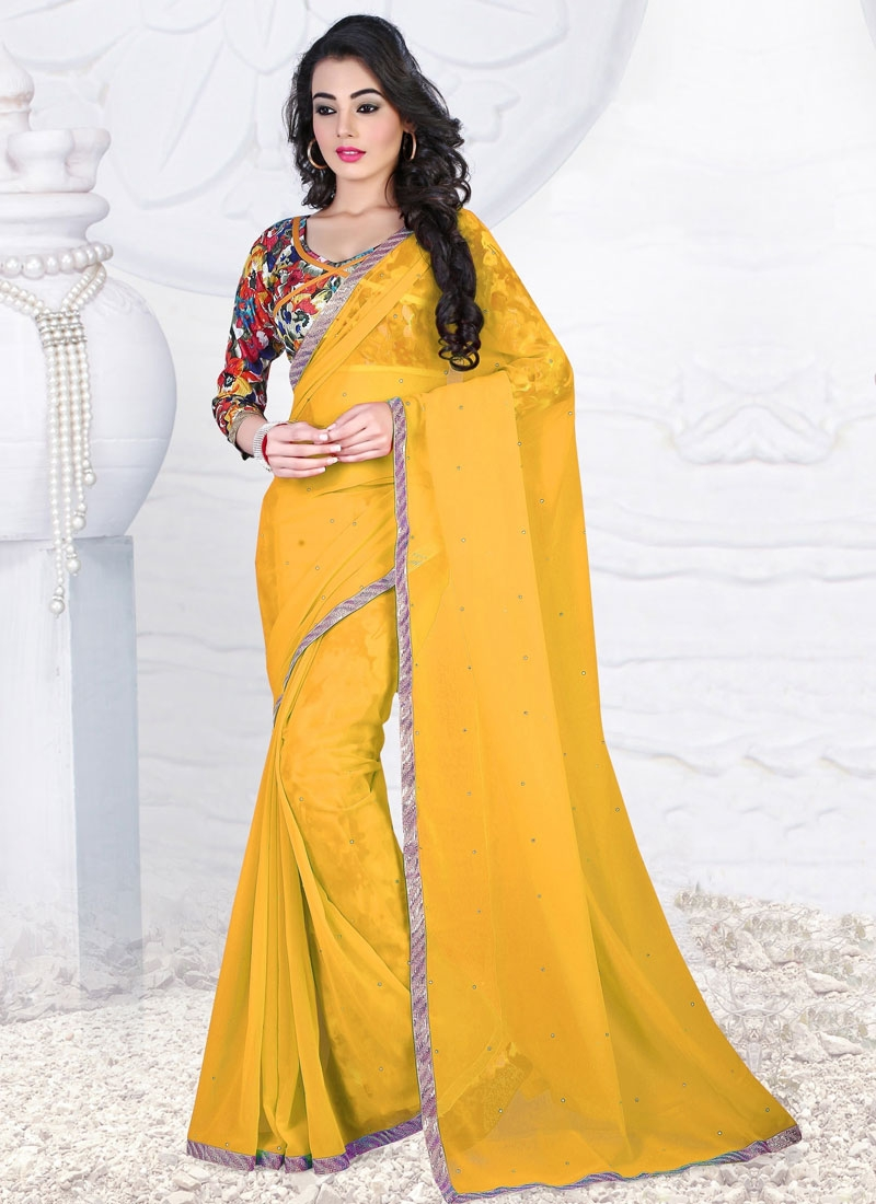 Wondrous Faux Georgette Lace Work Casual Saree