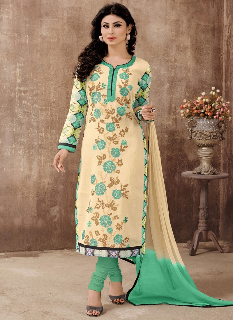 Wondrous Floral And Stone Work Mouni Roy Party Wear Suit