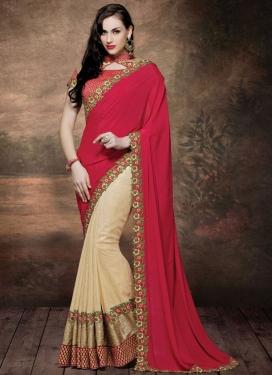 Wondrous Floral Work Crepe Silk Half N Half Designer Saree