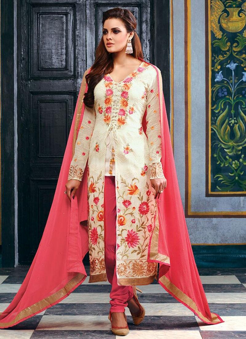 Wondrous Floral Work Off White Color Designer Salwar Kameez