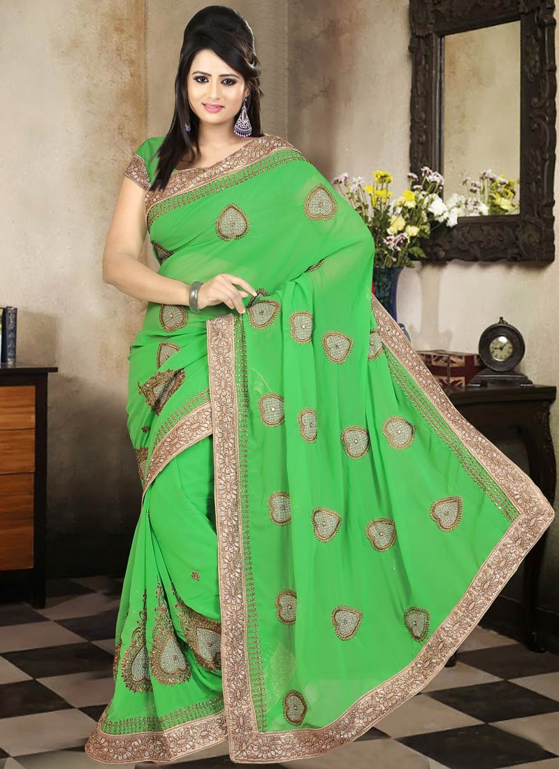 Wondrous Green Color Stone Work Party Wear Saree