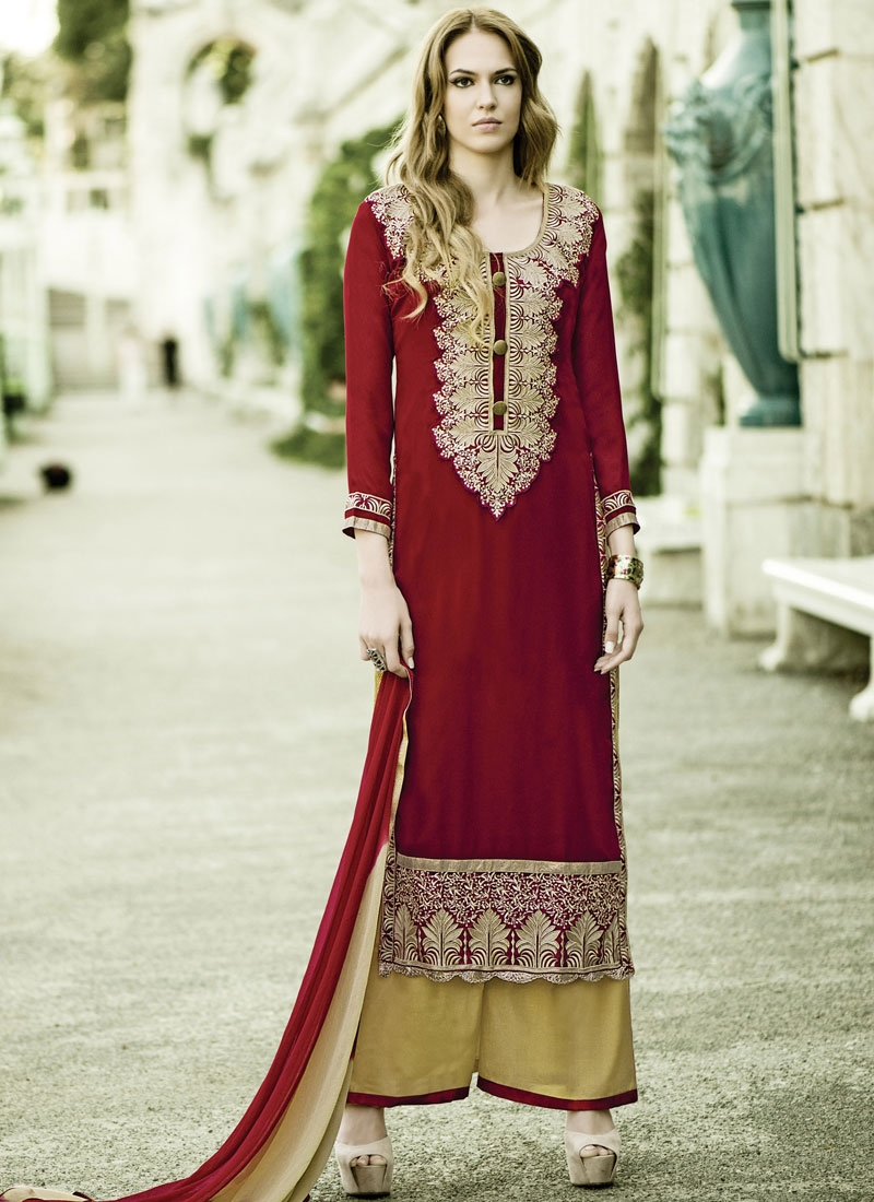 Wondrous Karachi Work Palazzo Style Party Wear Suit