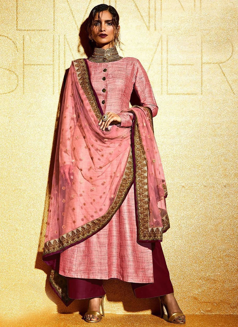 Wondrous Khadi And Net Palazzo Style Designer Suit