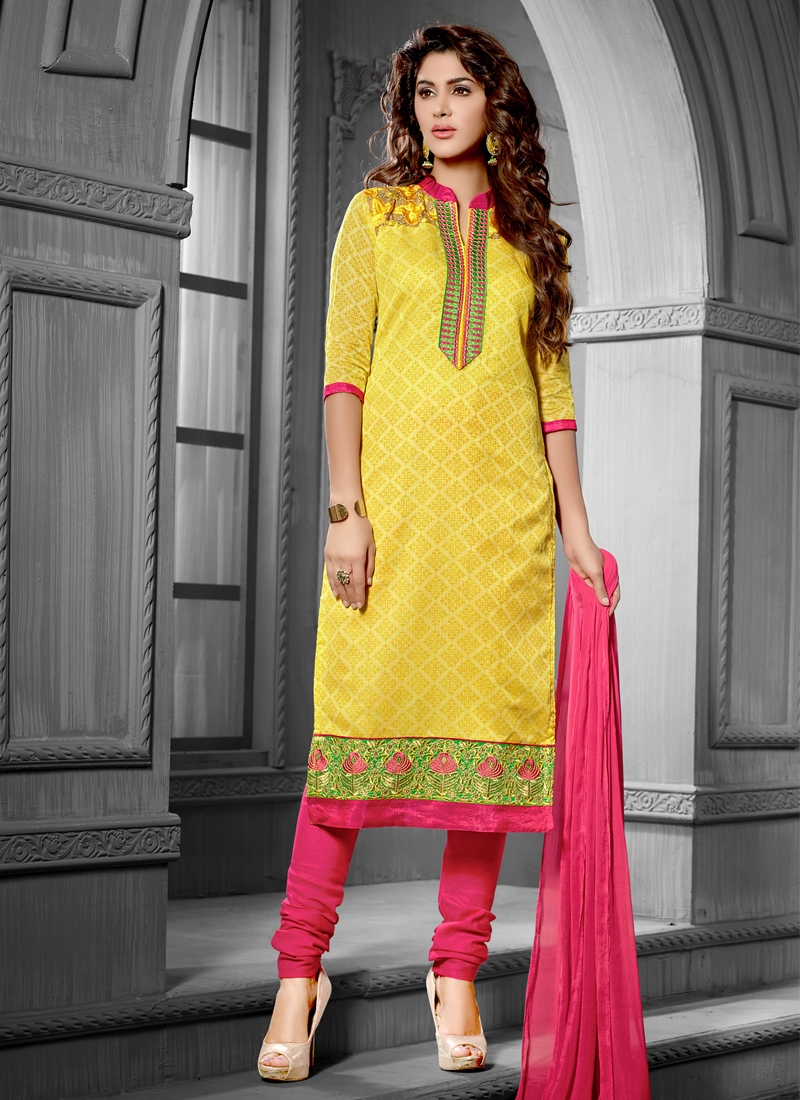 Wondrous Lace Work Chanderi Cotton Silk Casual Suit