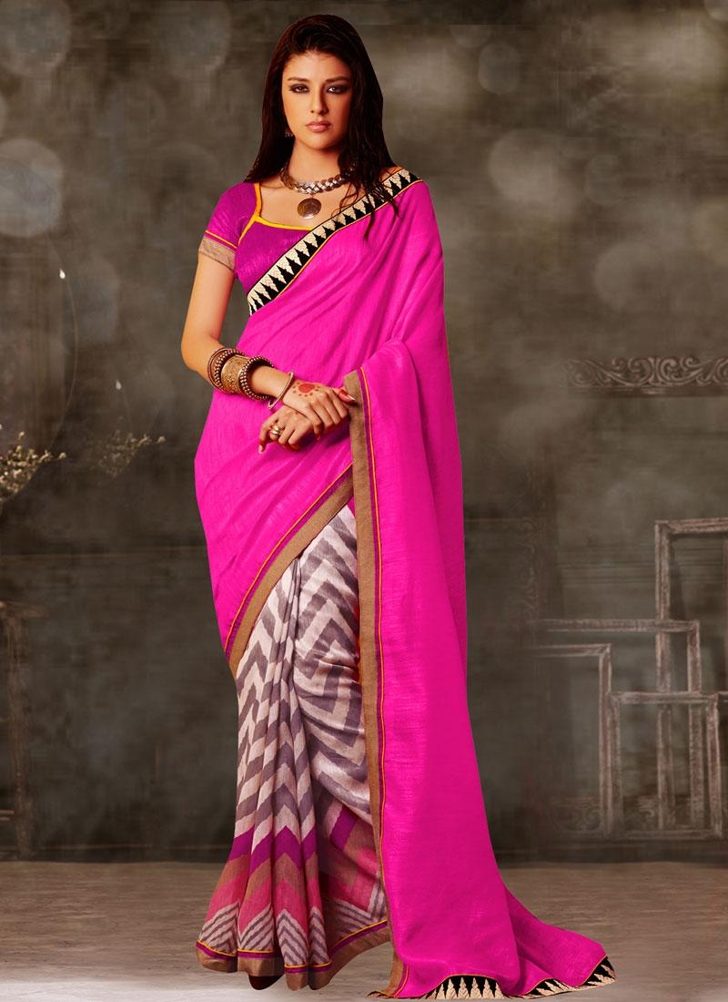 Wondrous Lace Work Rose Pink Color Half N Half Casual Saree