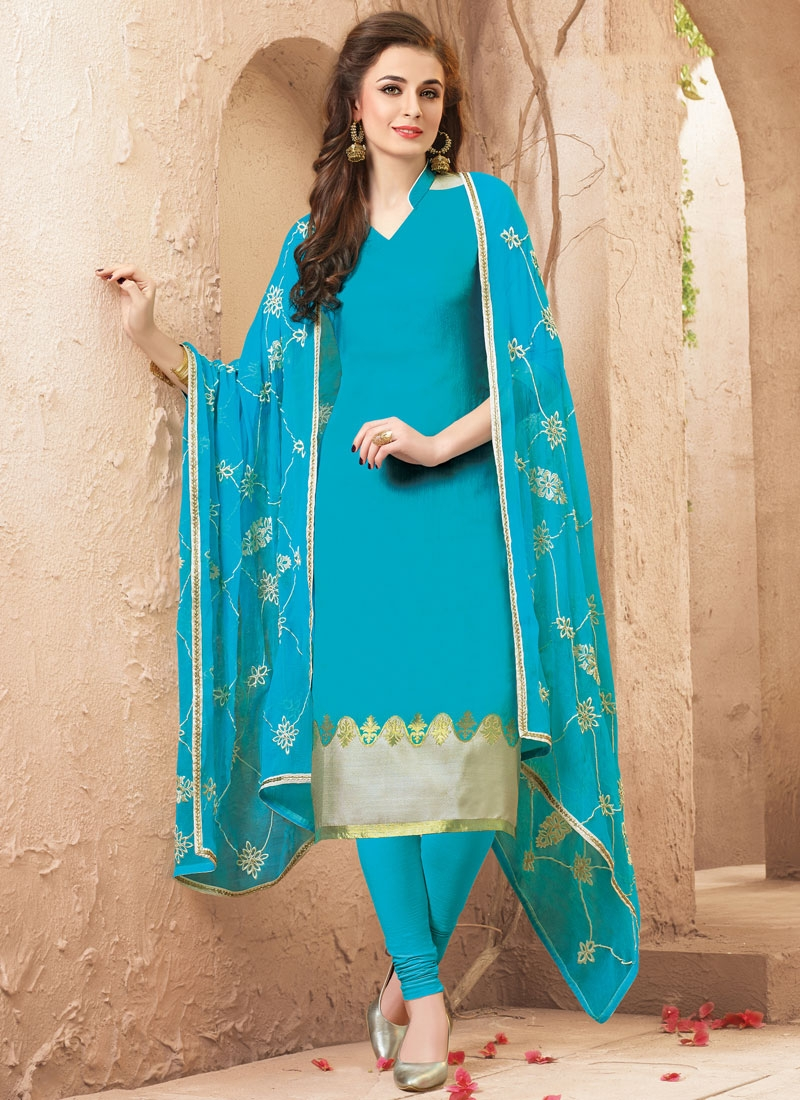 Wondrous Light Blue Color Casual Salwar Suit