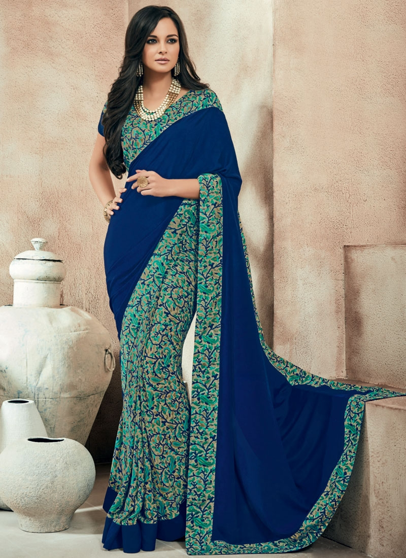 Wondrous Navy Blue Color Lace Work Half N Half Casual Saree