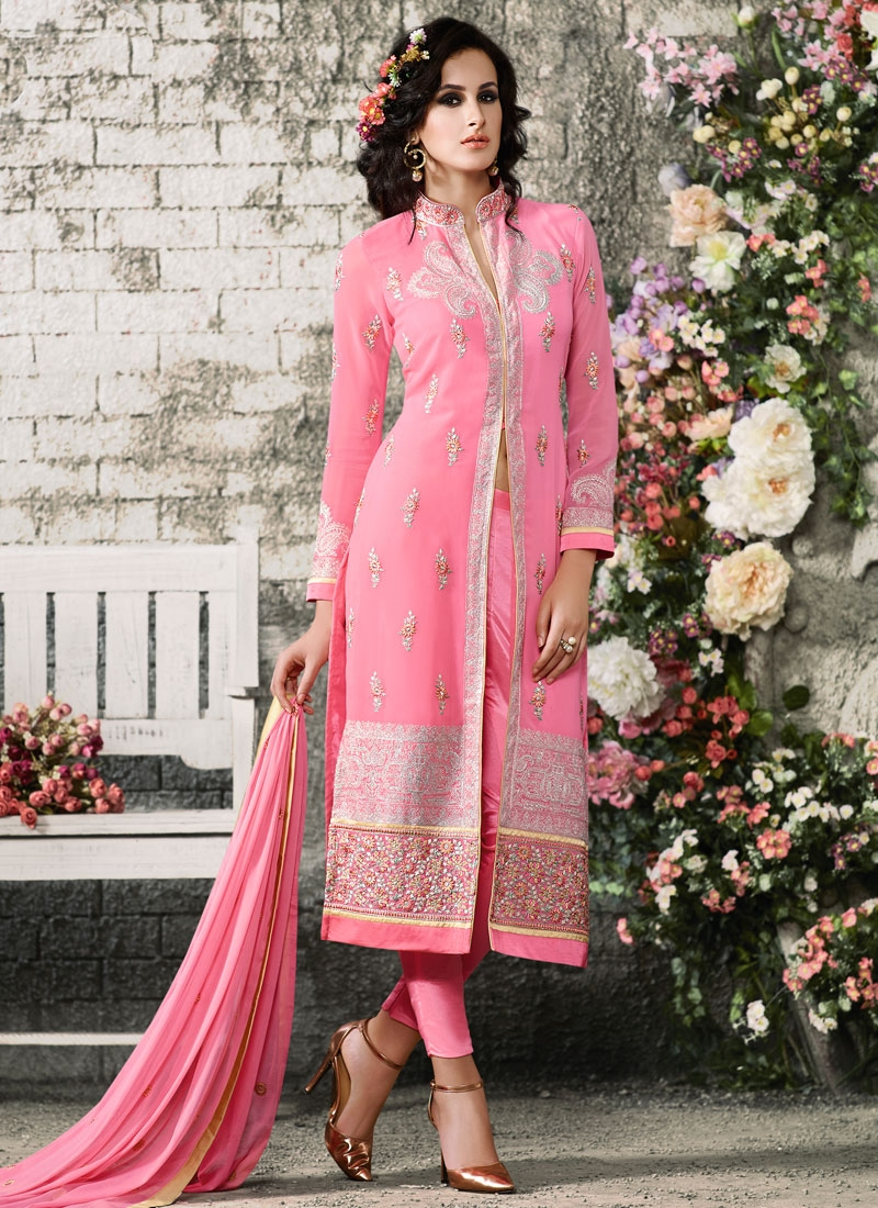 Wondrous Patch Border Work Pant Style Designer Suit