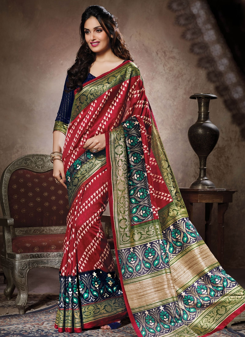 Wondrous Printed Art Silk Casual Saree