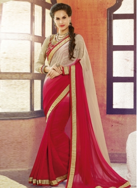 Wondrous Red And Beige Color Party Wear Saree