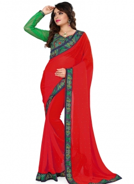 Wondrous Red Color Faux Georgette Casual Saree