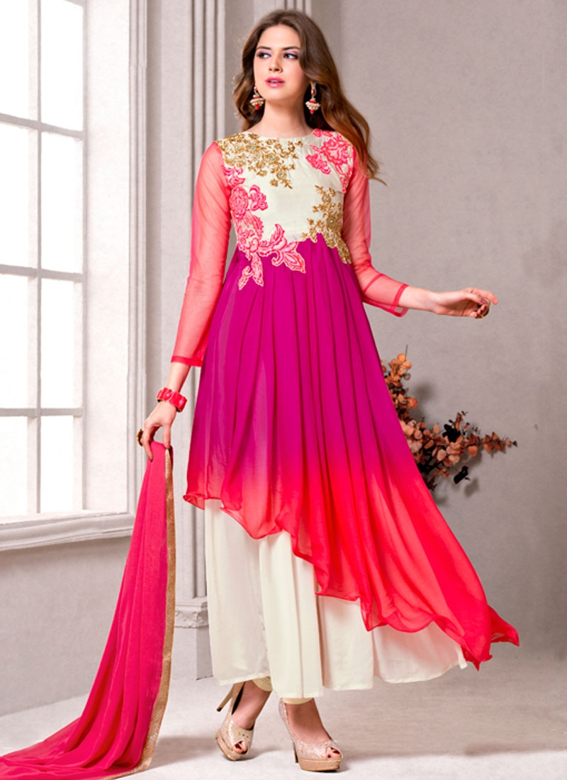 Wondrous Resham Work Asymmetrical Style Designer Salwar Suit