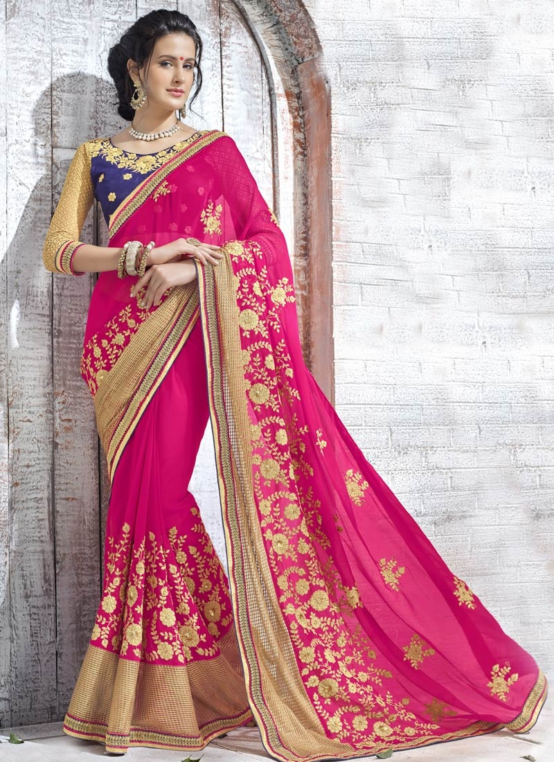 Wondrous Sequins And Resham Work Designer Saree