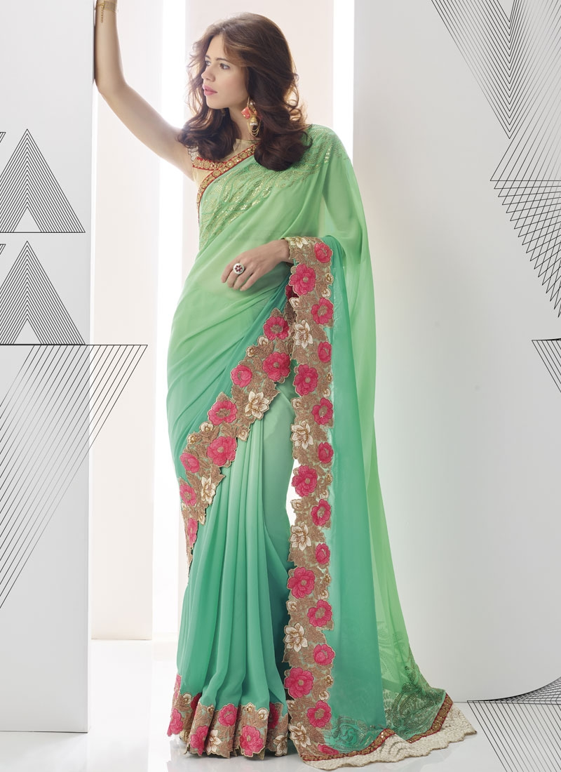 Wondrous Sequins Work Kalki Koechlin Designer Saree