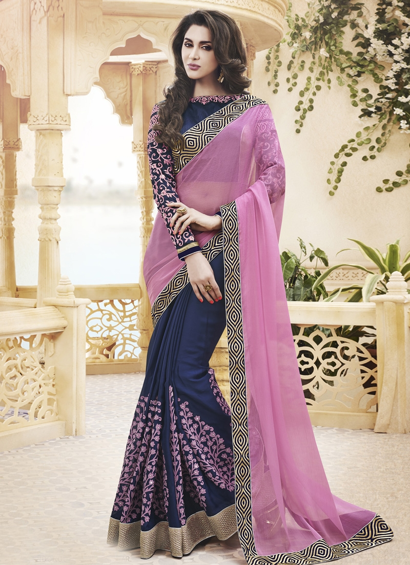 Wondrous Stone work Printed Half N Half Party Wear Saree