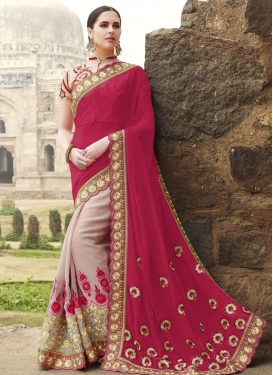 Wondrous Stone Work Pure Georgette Half N Half Wedding Saree
