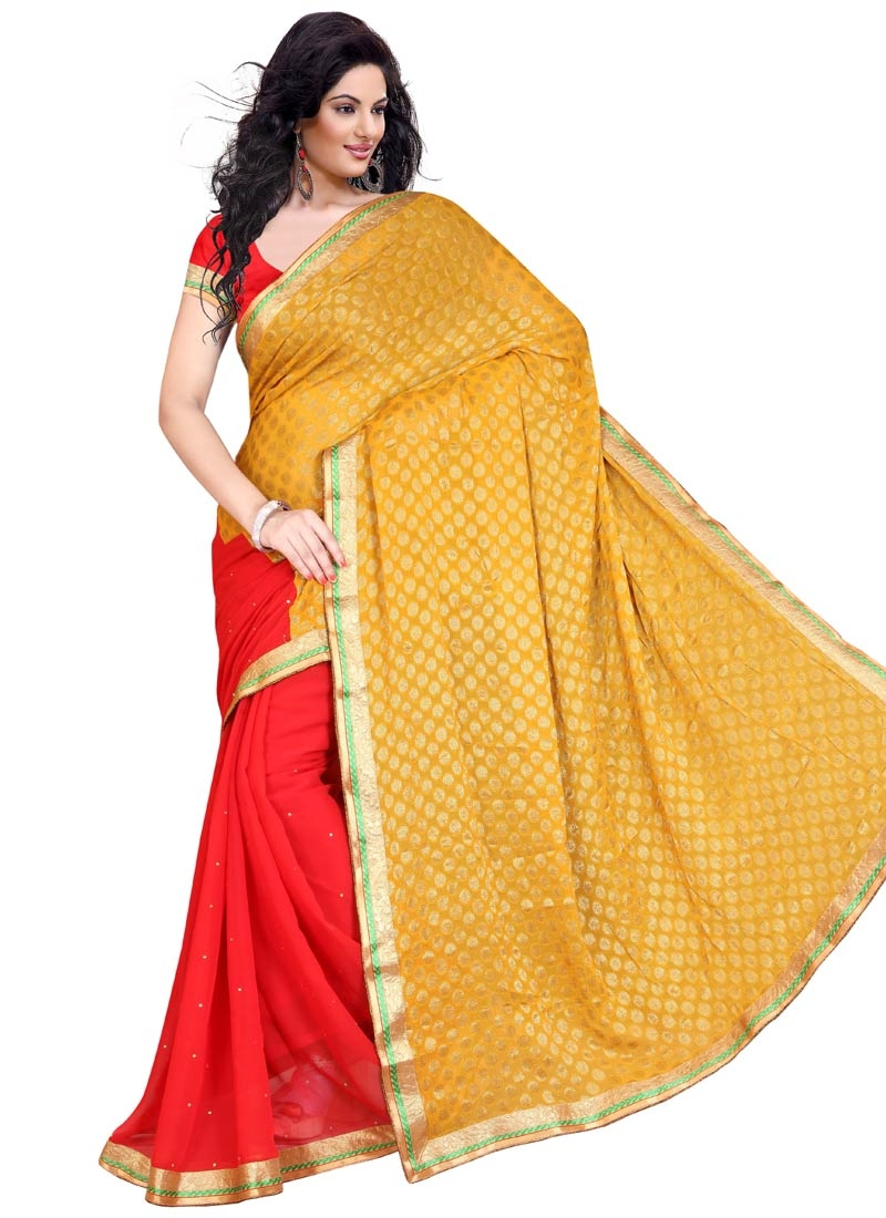 Wondrous Stone Work Red Color Half N Half Party Wear Saree