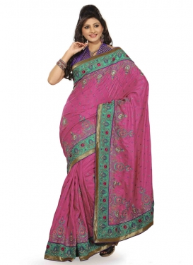 Wondrous Stone Work Silk Designer Saree