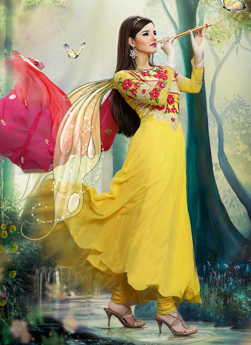 Yellow Color Floral Work Designer Salwar Kameez