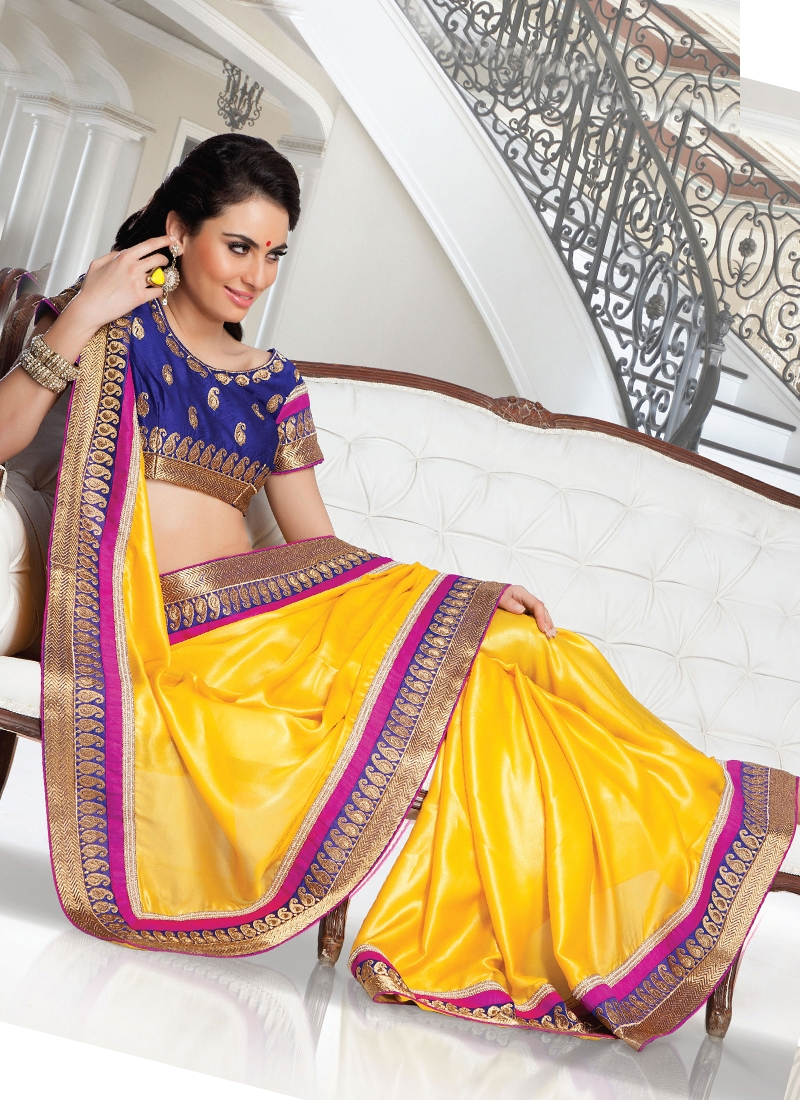 Yellow Color Lace Work Party Wear Saree