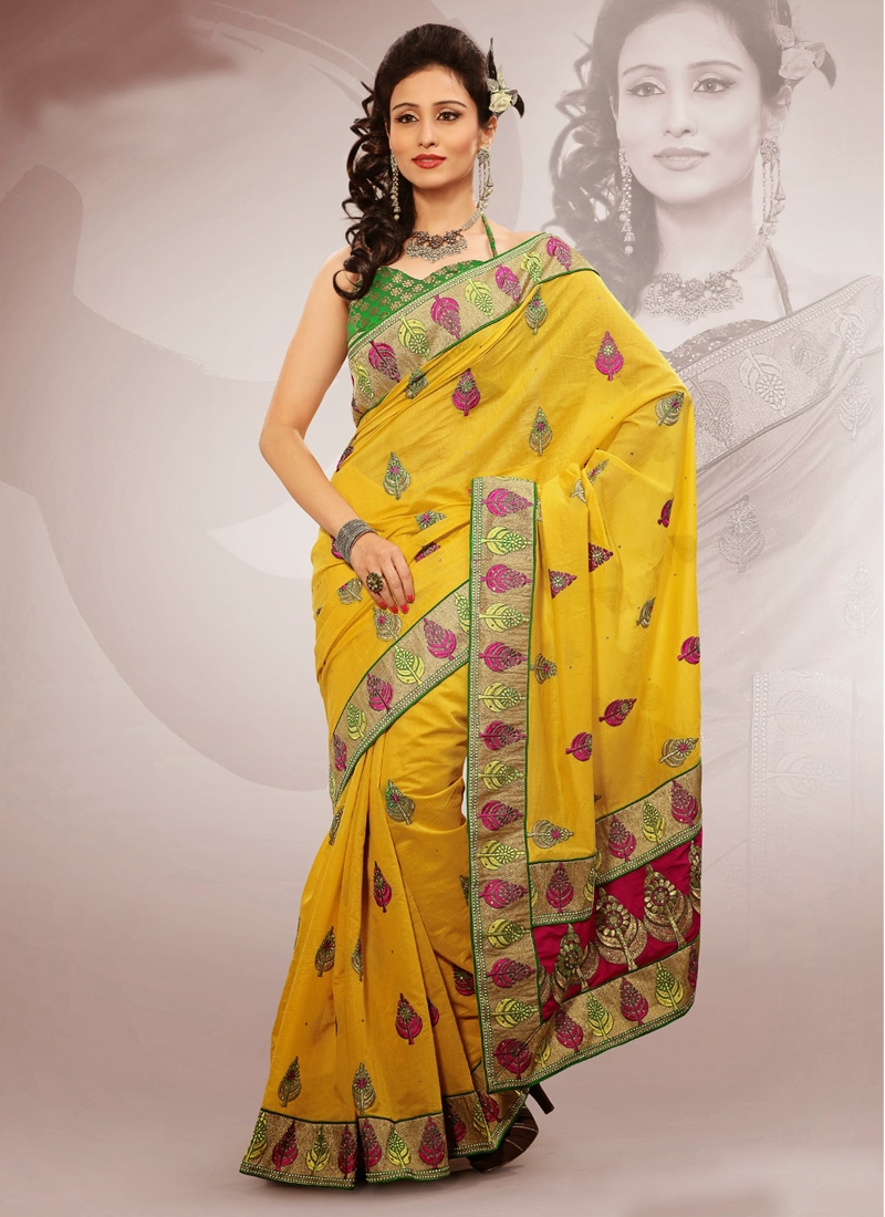 Yellow Color Resham Work Party Wear Saree