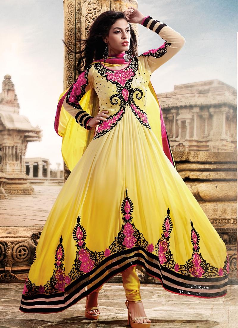 Yellow Color Sequins Work Designer Salwar Kameez
