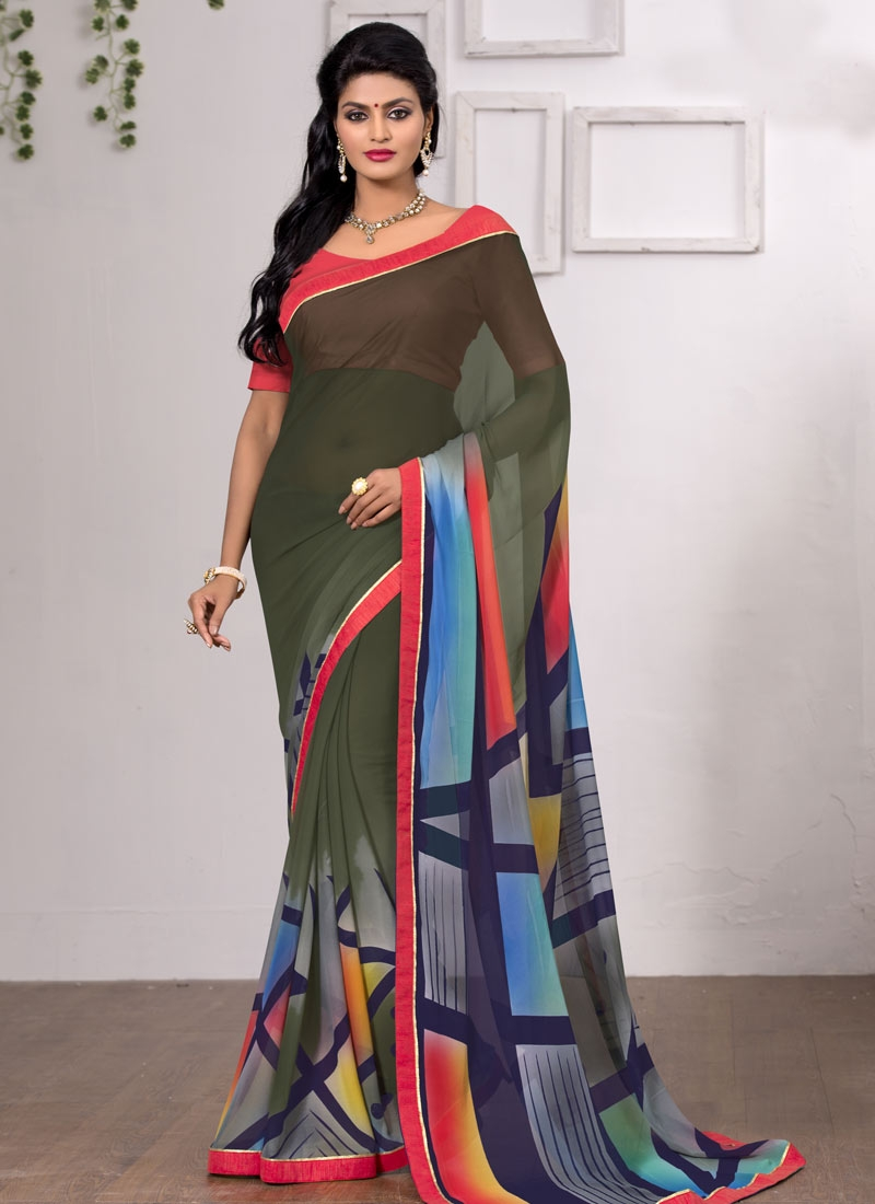 Zesty Abstract Print Work Olive Color Casual Saree