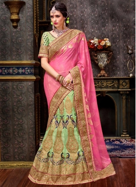 Zesty Art Silk Mint Green and Pink Designer Lehenga Saree