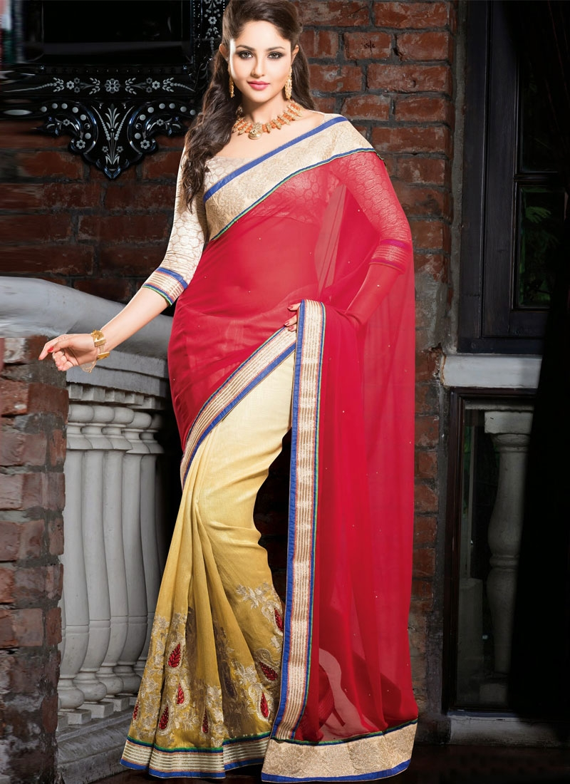 Zesty Cotton And Georgette Half N Half Party Wear Saree