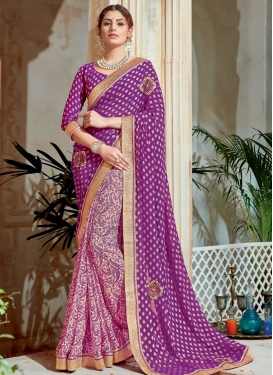 Zesty Cream and Purple Abstract Print Work Half N Half Designer Saree