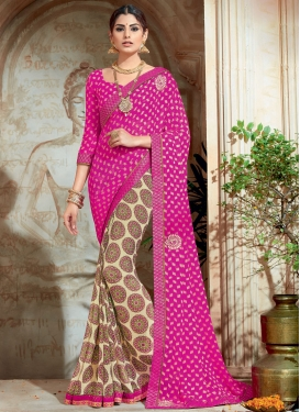 Zesty Cream and Rose Pink Booti Work Trendy Classic Saree For Festival