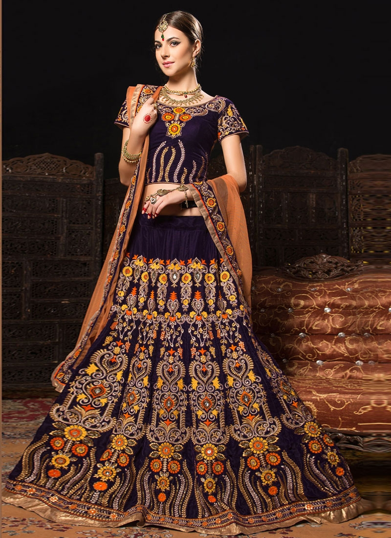 Zesty Lace And Floral Work Bridal Lehenga Choli