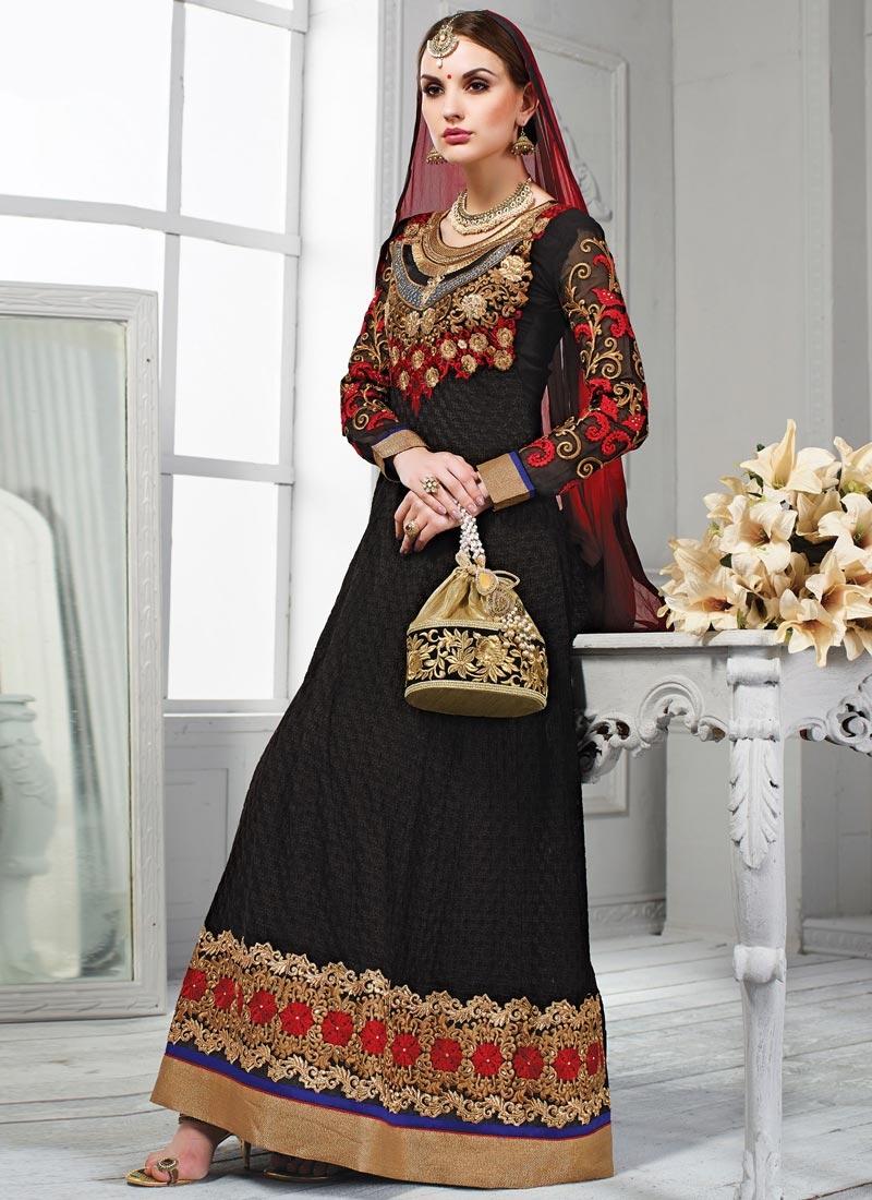 Zesty Lace And Floral Work Wedding Salwar Kameez