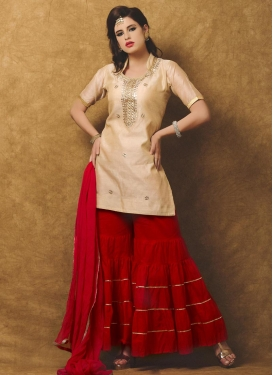 Zesty Resham Work Chanderi Silk Beige and Red Trendy Designer Salwar Suit